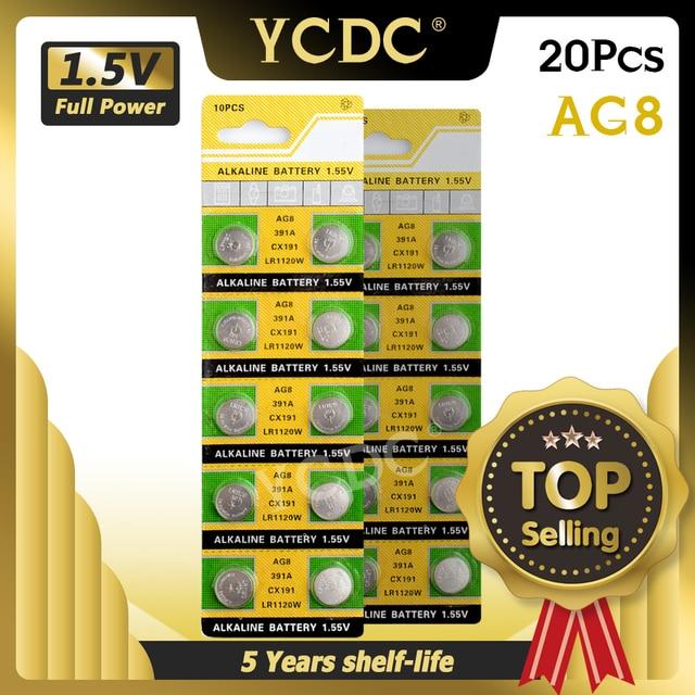 YCDC 20pcs 1.55v AG8 Watch Clock Battery Pilas 191 381 391 391A GP391 LR1120 LR1120W SR1120W Button Coins Celula Long Lasting