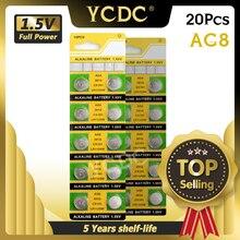 Ycdc 20 pçs 1.55v ag8 relógio bateria de relógio pilas 191 381 391 391a gp391 lr1120 lr1120w sr1120w moedas de botão celula de longa duração