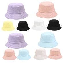 Bucket-Hat Fisherman-Cap Sunscreen Hip-Hop Korean Women Summer Sweet Plain 3pcs Macaron