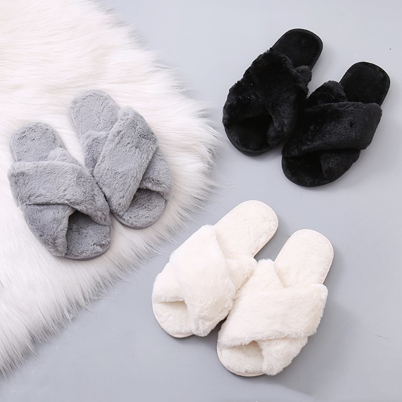 BEVERGREEN House Slippers Flat-Shoes Faux-Fur Furry Female Winter Wholesale Women Ladies