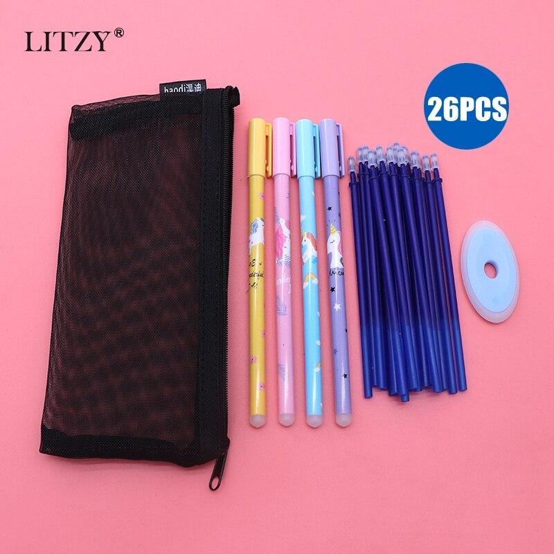 26pcs/lot Unicorn Gel Pen Set Erasable Refill Rod Erasable Pen Washable Handle For School Writing Supplies Kawaii Stationery