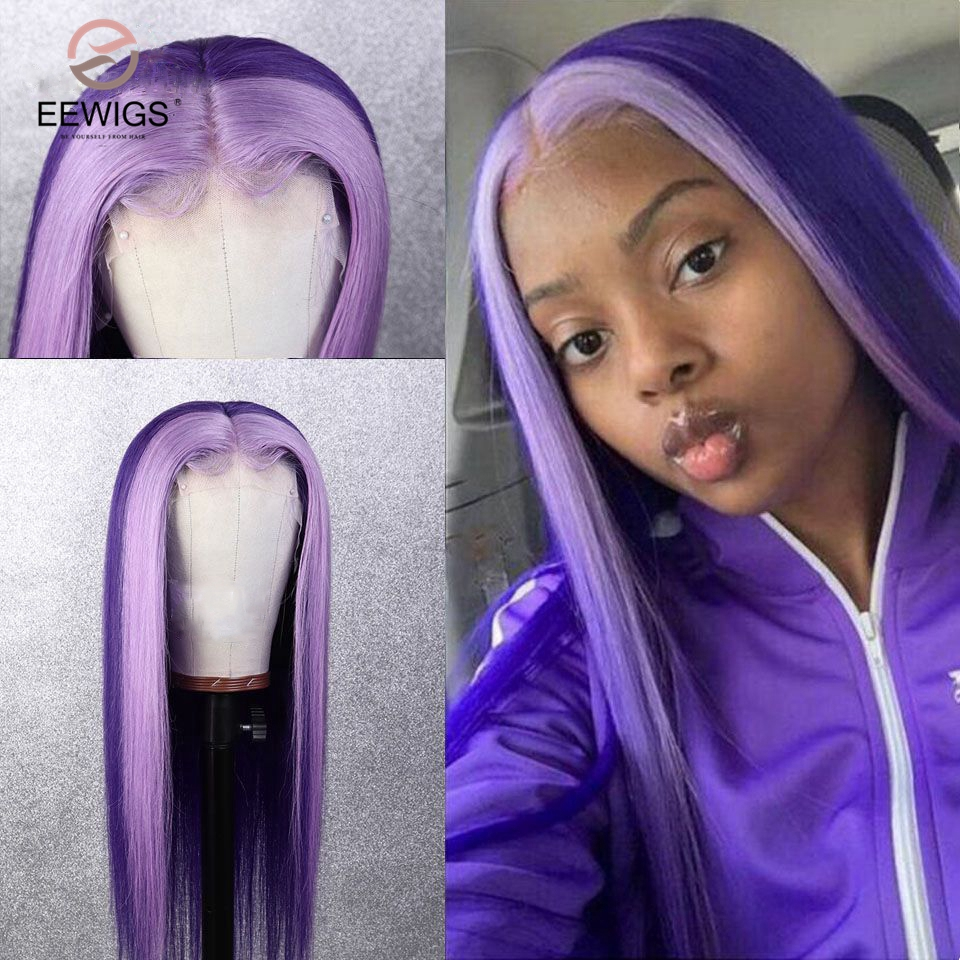 EEWIGS Red Pink Purple Highlight Wig Heat Resistant Synthetic Lace Front Wig With Natural Hairline Glueless Wigs For Black Women