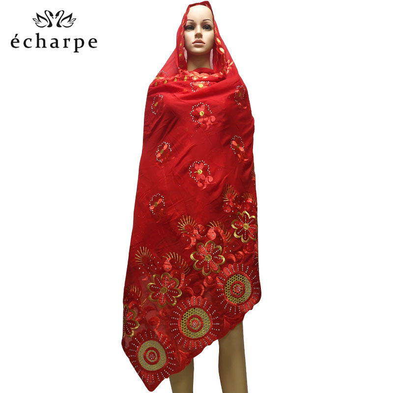 Women Hijab Scarf Shawl Embroidered Cotton African Hollow Soft Comfortable EC188 210--110cm