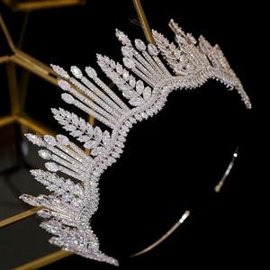 Image 2 - New luxury princess crystal crown Tiara crystal bride crown CZ wedding headband large wedding hair accessories