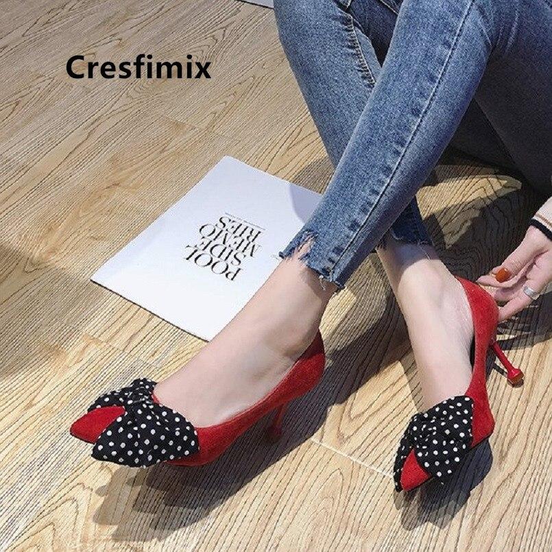 Cresfimix dame talons hauts femmes mode bout pointu fleur pu cuir pompes à talons hauts dame sexy chaussures de mariage et de fête a2808