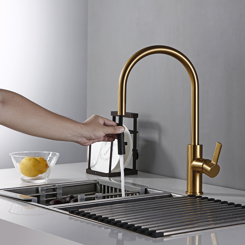 Bagnolux Luxury Matt Old Brushed Golden Brass Kitchen Faucet Hot And Cold Water Round Spout Single 360 Rotatable Kitchen Faucet