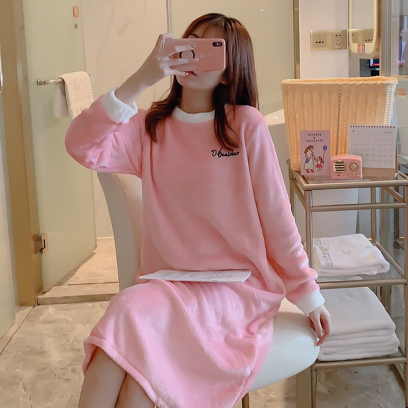 Winter Coral Velvet Pajamas Women's Korean-style Casual Warm Women's Pullover Students Flannel Long Skirts Tracksuit Nightgown