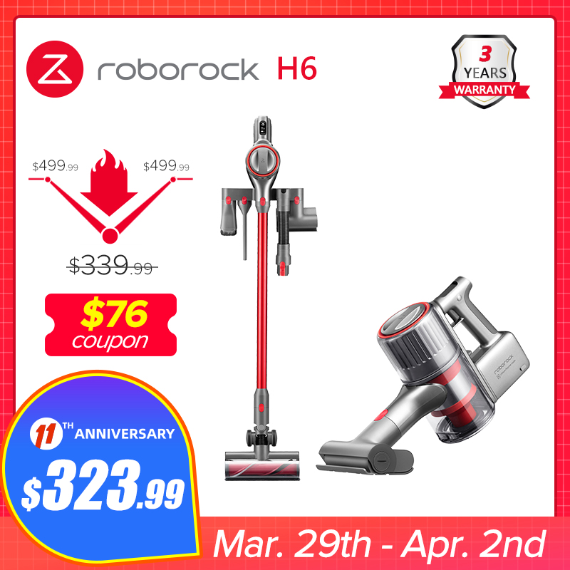 2020 Roborock H6 Adapt Cordless Vacuum cleaner150AW Strong Suction 420W Brushless Motor OLED Display Portable Wireless Handheld|Vacuum Cleaners| - AliExpress