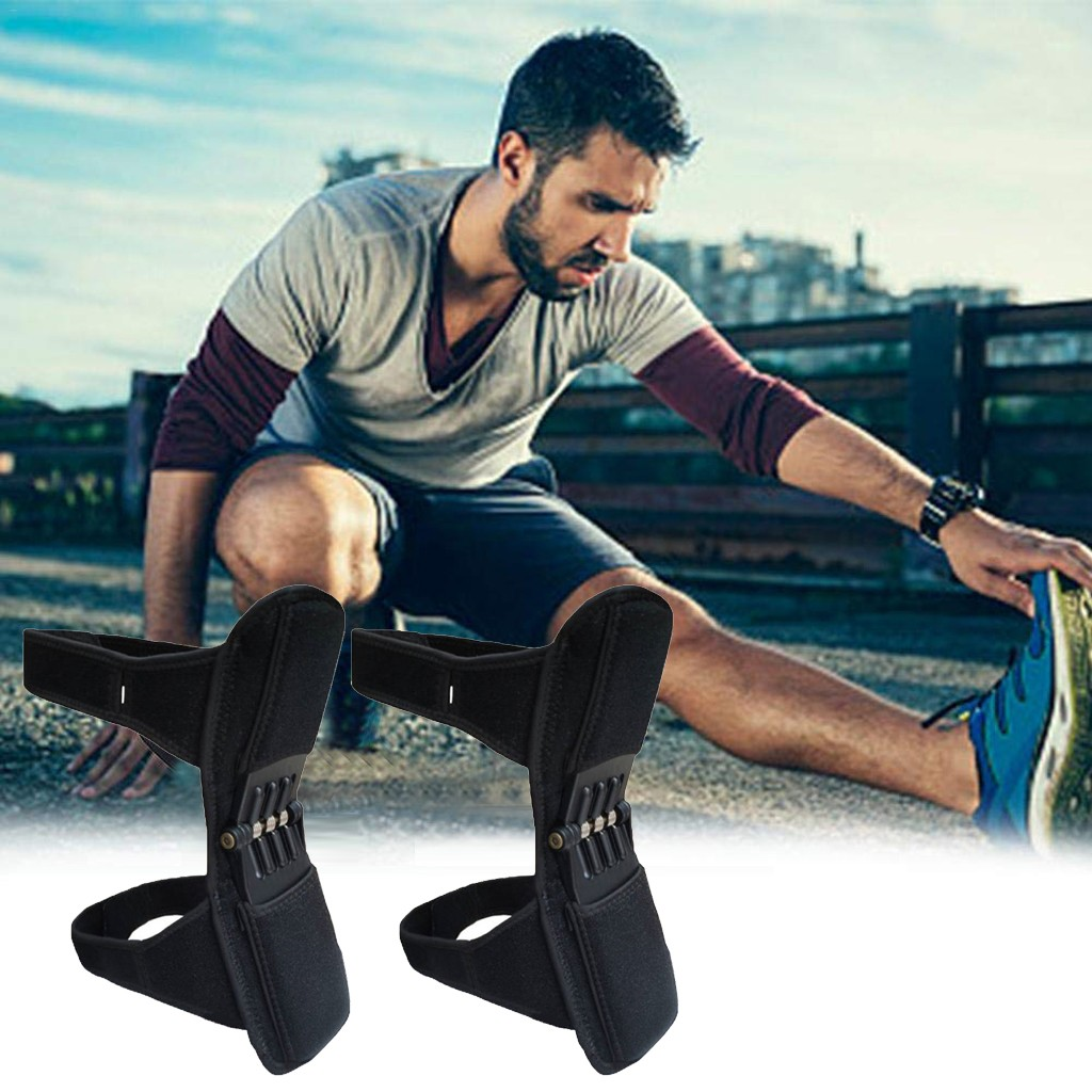 1 Pair PowerLift Joint Support Knee Pads Powerful Rebound Spring Force Sports Knee Booster Knee Sleeve