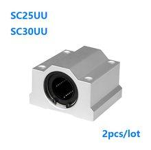 2 pçs/lote SC25UU SCS25UU 25mm SC30UU SCS30UU 30mm unidade caso linear guia linear do eixo do bloco para CNC peças 3D