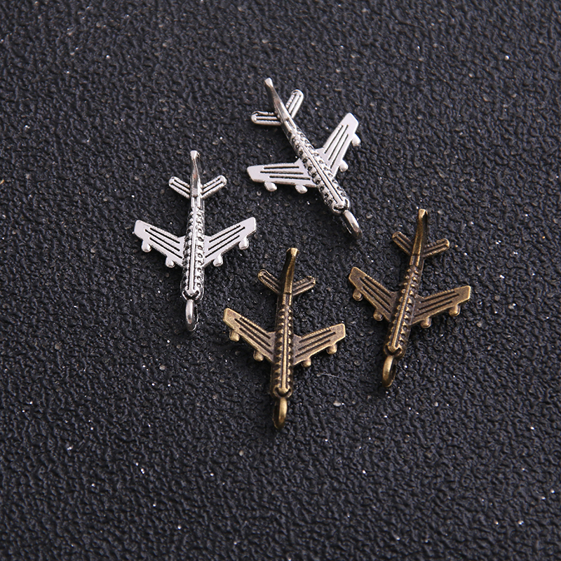 20PCS 15*22mm Airplane Plane Two Color Plated Pendants Antique Jewelry Making DIY Handmade Craft image