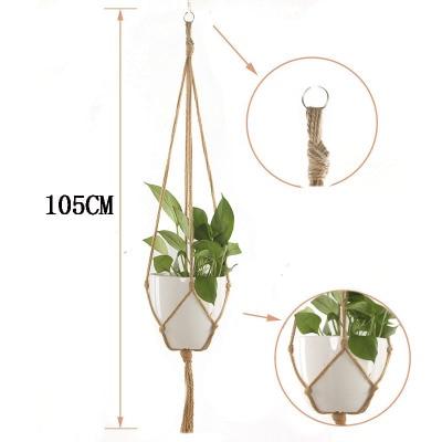 Завязанная Подвеска для растений из макраме крючок Винтаж хлопок белье цветочный горшок корзина подъемная веревка подвесная корзина горшок держатель садовые инструменты - Цвет: 105cm