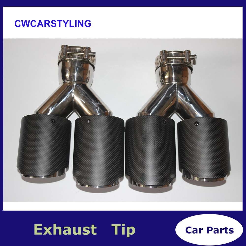 One Pair Y Model Ak Car Exhausts Dual End Tips Universal Carbon Dual End Muffler Pipes Tail Tips