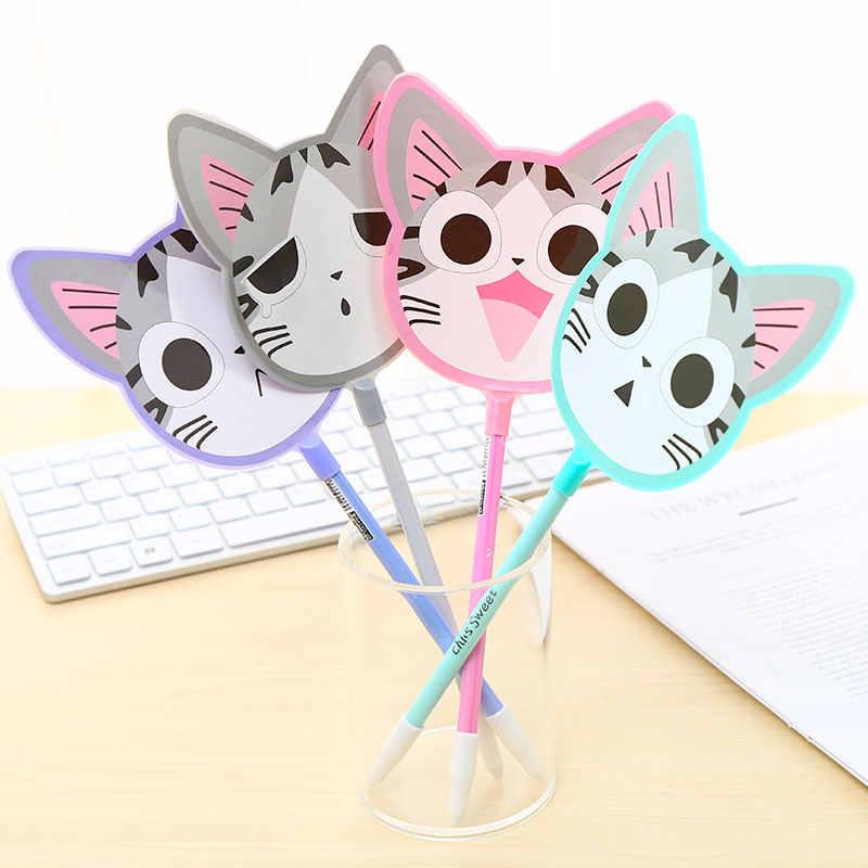 Korea Kawaii Lucu Tangki Mermaid Cat Gel Pena Hewan Pink Panther Natal Anak-anak Hadiah Sekolah Kantor Kit Aksesori Alat Tulis Kawai
