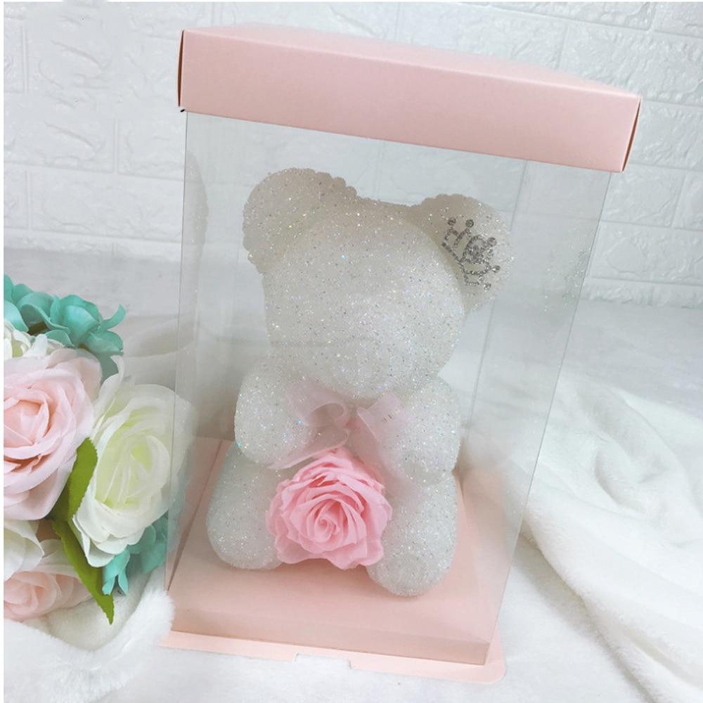 Вечный цветок, кристалл, бриллиант, медведь, День Святого Валентина, Рождество, Год, подарок для девочек, стразы, роза, медведь в подарочной коробке - Цвет: Белый