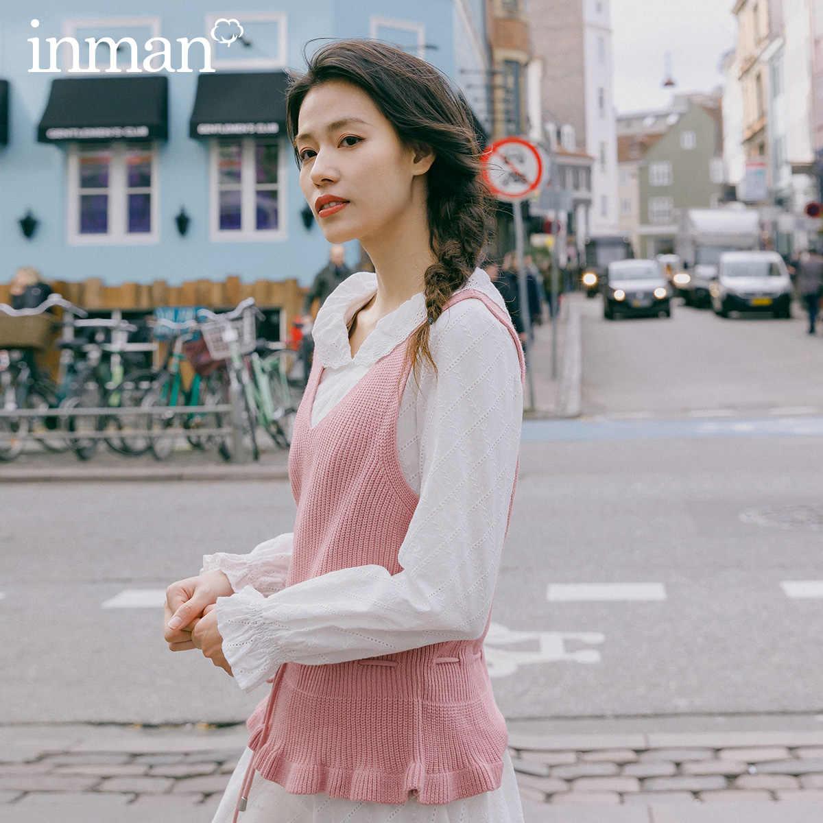 Xã INMAN Mùa Xuân 2020 Hàng Mới Về Văn Học Nguyên Chất Màu V-Dòng Cổ Nipped Waists Ren Co Giãn Đan Áo Ngắn
