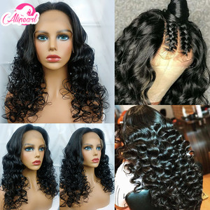 Curly Lace Front Human Hair Wigs Brazilian Virgin Hair Wigs For Black Women Pre Plucked 180% 250% Density AliPear Hair Lace Wig(China)