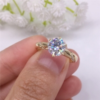 Pure 18K Rose Gold 1ct 2ct 3ct Classic Round Cut Moissanite Ring Diamond ring jewelry Wedding Engagement Ring