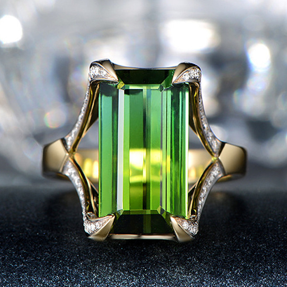 Luxury emerald gemstones green jade crystal Rings for women femme Gold color anillos bijou zircon diamond fashion party jewelry