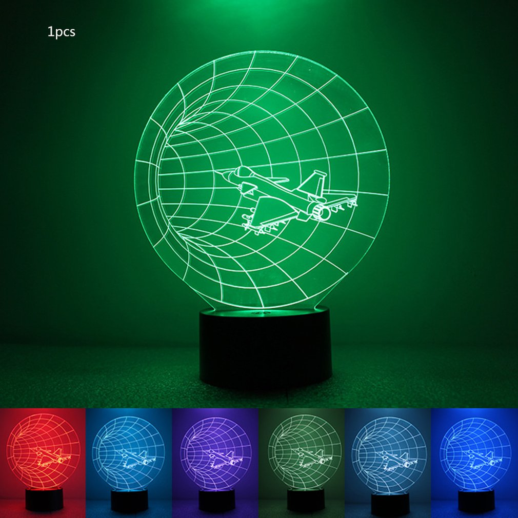 Colorful 3D Night Light Airplane Night Light Eye Care LED Light Bedside Night Lamp Home Decoration Birthday Gift image