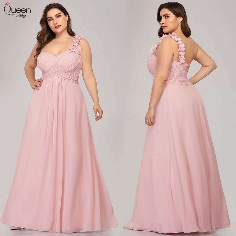 Elegant Bridesmaid Dresses Queen Abby Long Sweetheart One Shoulder Ruffled Flower Special Occation Dresse For Wedding  Plus Size