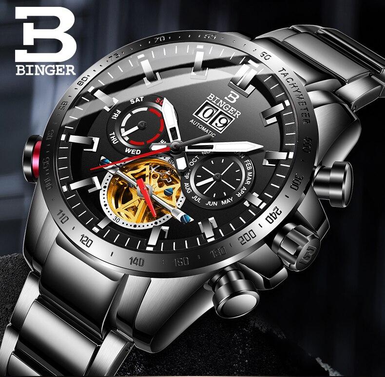 Suíça relógio automático men binger mecânica relógios