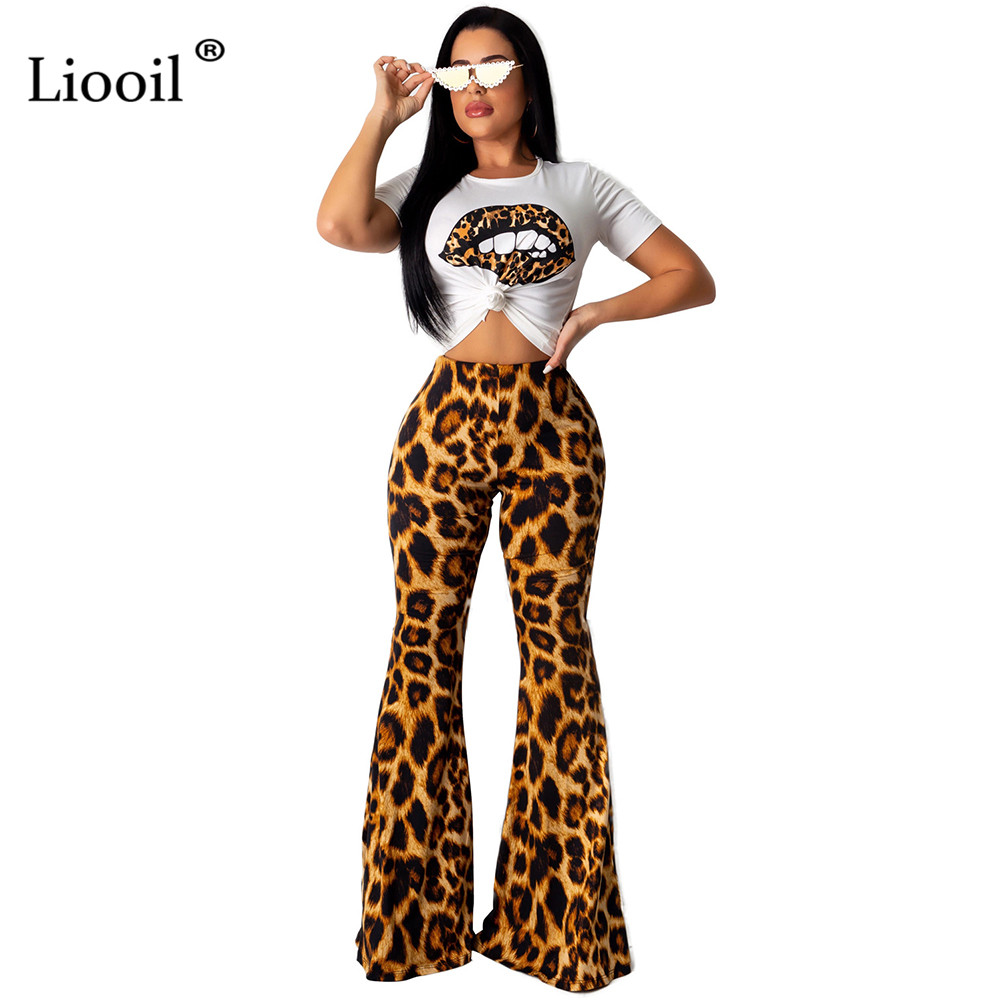 Liooil Lip Print Two Piece Tight Jumpsuits For Women 2019 Leopard Club Rompers Long Pants Sexy Costumes Party Wide Leg Jumpsuit