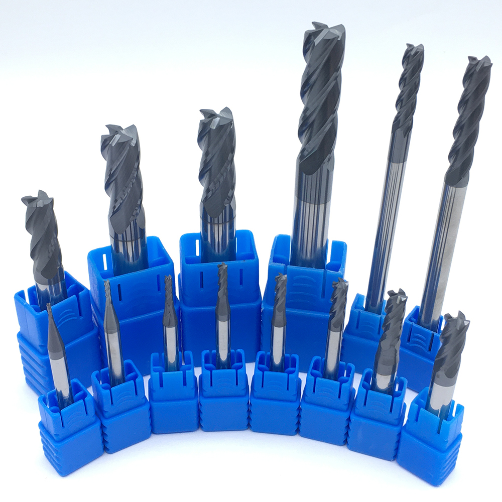 End Mill 1PCS HRC50 4 Flute 1-12 End Mill Flat Bottom Four Blade CNC Lathe Tungsten Steel Solide Carbide Endmills