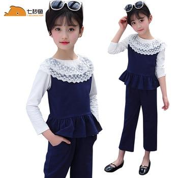 Conjunto de Ropa para Niñas primavera 2020, cuello de encaje, pequeños algodones, trajes de 3 piezas para niñas, conjunto de ropa para niñas, rojo/amarillo/azul, recién llegado