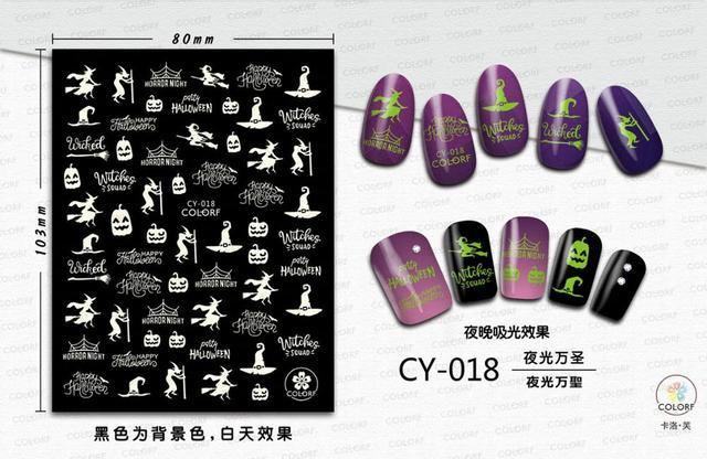 Фото morixi стикер для дизайна ногтей светящийся хэллоуин серии светится