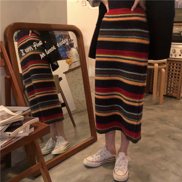 Photo Shoot! Autumn Clothing New Style Retro Multi-color Stripe Wool Knitted Skirt
