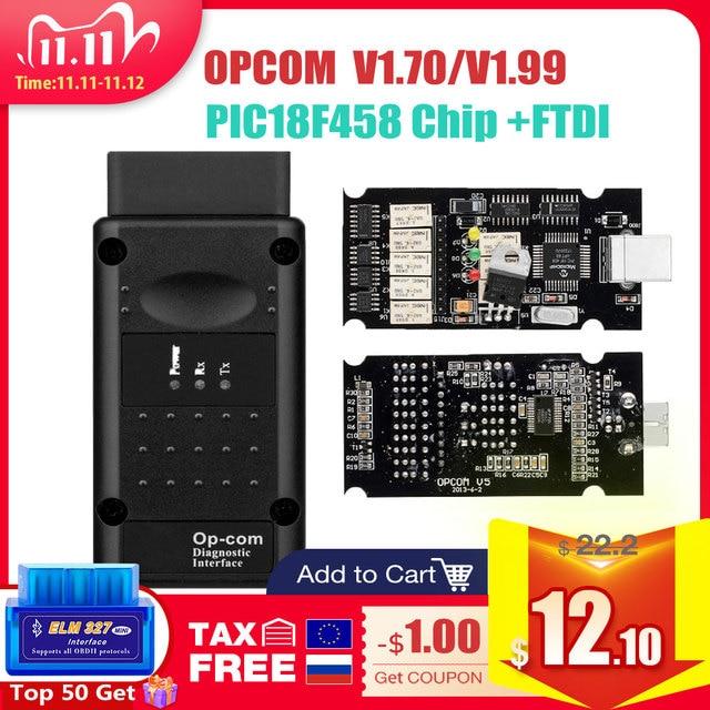 Op com V1.65 V1.78 V1.99 مع PIC18F458 FTDI op com OBD2 أداة تشخيص السيارات لأوبل OPCOM CAN BUS V1.7 يمكن فلاش تحديث
