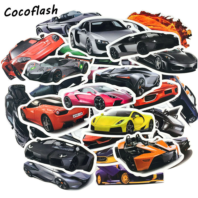 50 Pcs/Lot Cool Classic Fashion Style Sports Car Stickers For Moto Suitcase Car Laptop Stickers Skateboard Toy Sticker For Kids