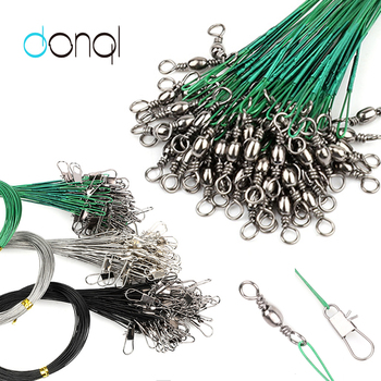 DONQL 60pcs Anti Bite Fishing Lines Steel Wire Leader With Fishing Swivel Connector 12-30cm