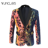 YUNCLOS Men Sequin Blazer Slim Fit Male Wedding Party Suit Performance Jacket Sing Stage masculine blazer