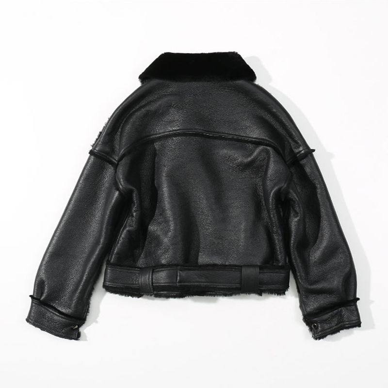 Women's Jacket Leather Sheepskin Black Moto&Biker Zip Fly Collar Lapel Neckline Winter Thick Women's Short Jacket