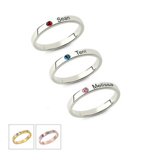 JrSr new Personalized Stackable Engraved Name Ring with Birthstone Triple Stackable Ring 925 Sterling Silver Custom Jewelry gift personalized birthstone engraved name ring gold color family stackable ring for mother