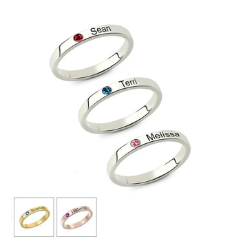 JrSr new Personalized Stackable Engraved Name Ring with Birthstone Triple Stackable Ring 925 Sterling Silver Custom Jewelry gift