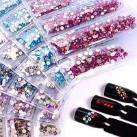 1728PCs Glas Glitter Mixed 40 Farbe Charme Flache Rückseite Strass Top Nagel Edelsteine Dekorationen AB Kristall Kawaii Accesorios Liefert