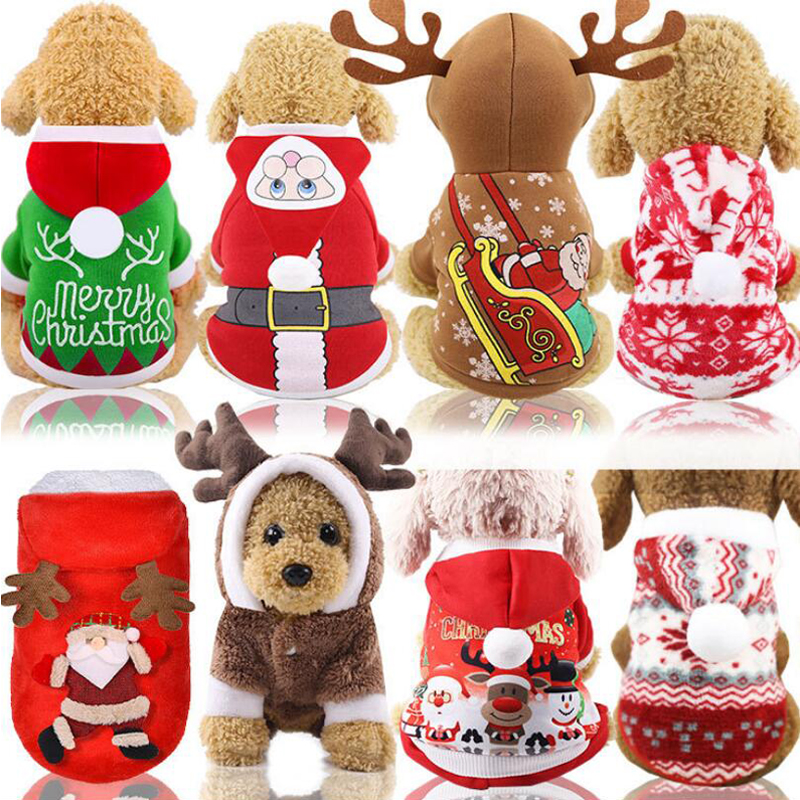 HIPET Pet Christmas Costum Dog Cat Clothes Apperal Cute Cartoon Santa Claus Winter Warm Coats For Small Dogs Puppy Clothing