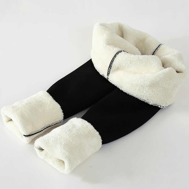 Zwarte Vrouwen Winter Dikke Fluwelen Broek Plus Size Warme Hoge Taille Stretch Skinny Potlood Broek Casual Wol Fleece Leggings Broek