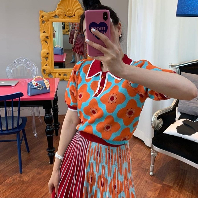 [EWQ] women Summer Retro Lapel Loose Puff Sleeve Sweater + High Waist Pleated Skirt Contrast Color Suit Fashion Casual16F08400 2