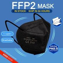 Livraison en 10 jours! Masque de protection facial noir KN95 pour adultes, 5 couches, respirateur anti-poussière, blanc, FFP2, FFP3