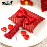 100pcs/lot 2Color Pillow Bow Candy Box with Tassels for Wedding Candy Favor Gift Event Party Supplies