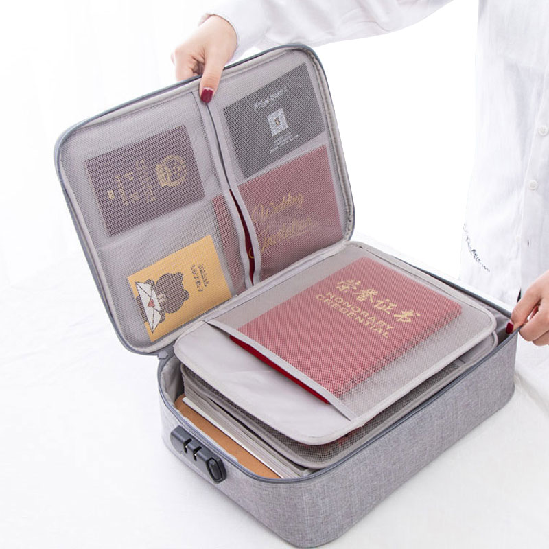 Password Documents Bag Large Briefcase Men Travel Bag Waterproof Storage Bag Multi Purpose Office Bag