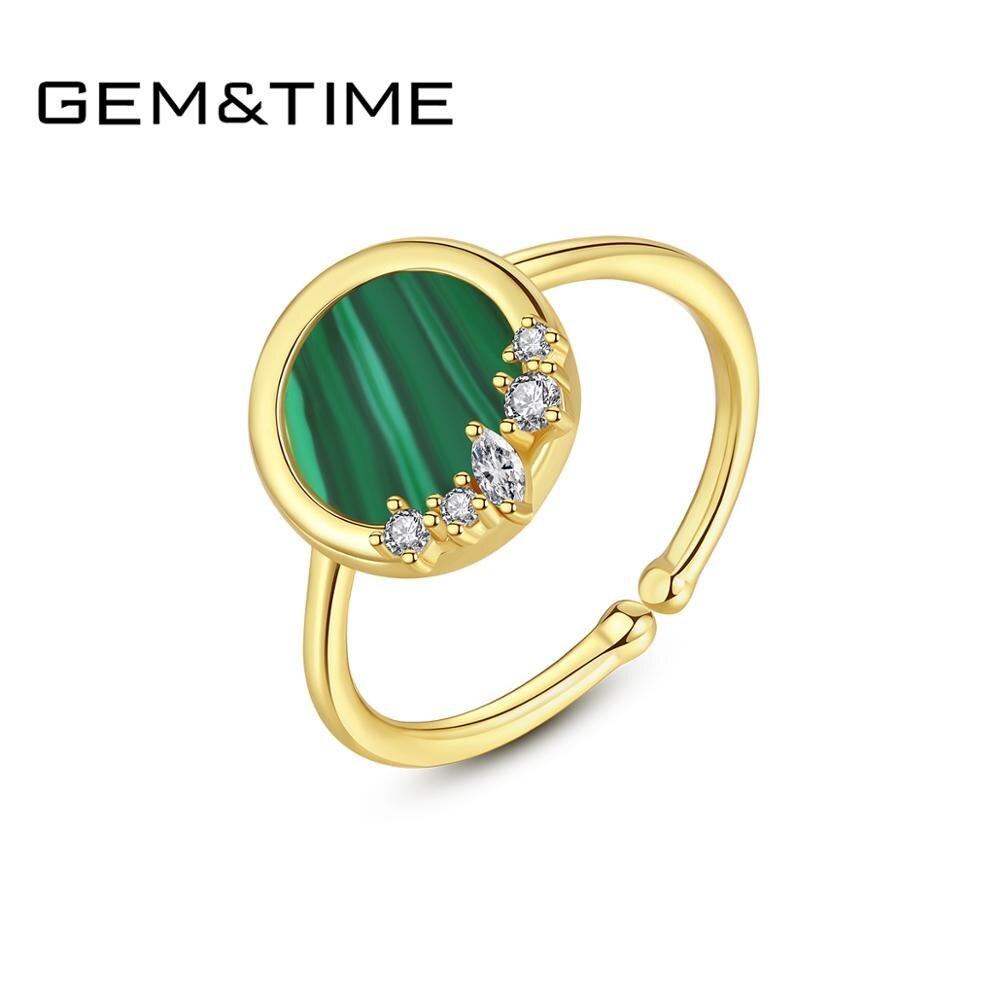 Gem&Time Retor Silver 925 Round Malachite Finger Ring For Women Dazzling Charm Zircon Ring Steling 925 Silver Fine Jewelry Gift