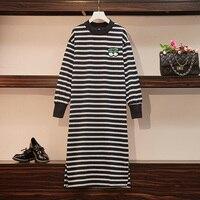 Women Autumn Winter Casual Stripe T Shirt Dresses Cotton O Neck Warm Sweatshirt Dress Women Embroidery Loose Vestido Streetwear