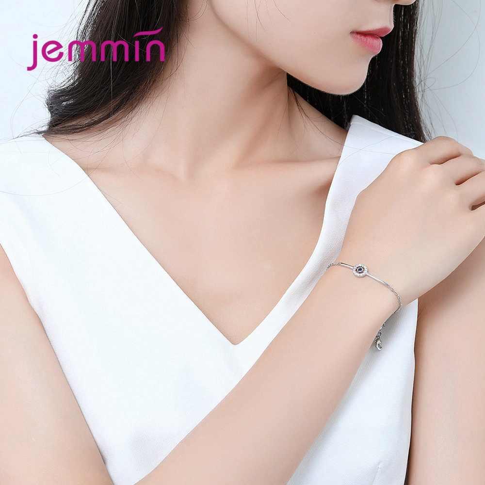 הכי חדש אופנה סגנון אלגנטי נשים תכשיטי אמיתי 925 כסף סטרלינג צמיד עם עגול תליון סלול עם נוצץ קריסטל