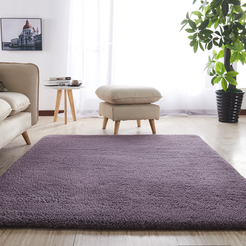 European Modern Fluffy Rectangular Carpet Living Room Bedroom Balcony White Pink Gray Non-slip Polyester Carpet 140cm*200cm