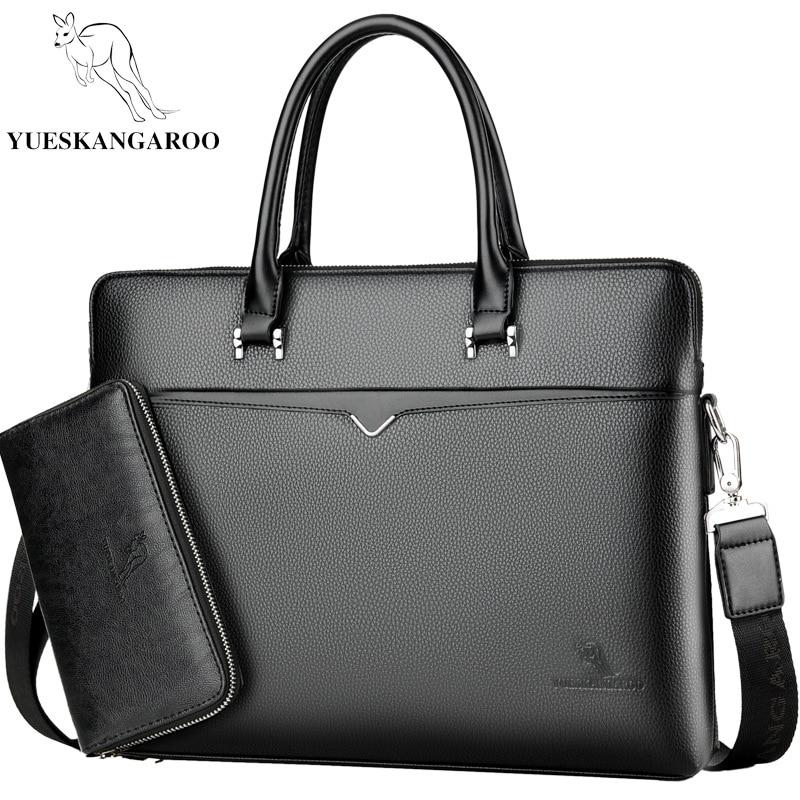 YUESKANGAROO New Luxury Men's Briefcase Satchel Bags For Men Business Laptop Handbag PU Leather Shoulder Bag Male Travel Bags